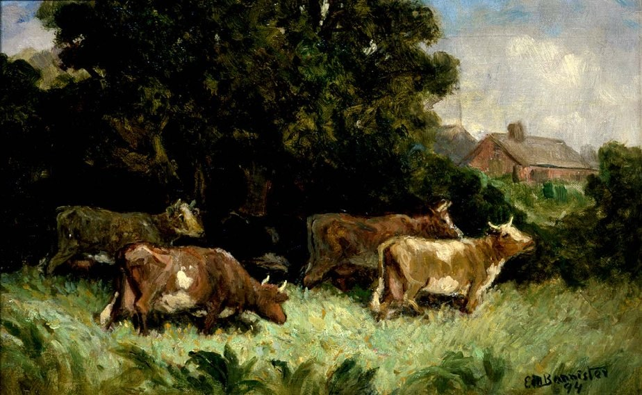 Edward Mitchell Bannister five cows in pasture, rooftop in background