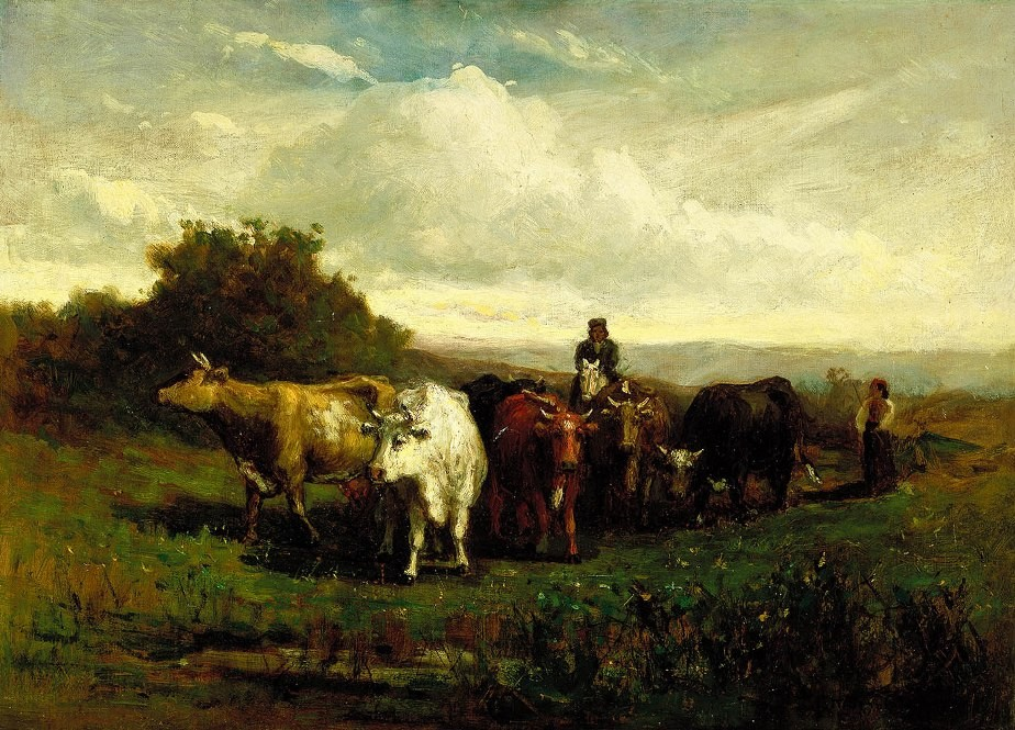 Edward Mitchell Bannister man on horseback, woman on foot driving cattle
