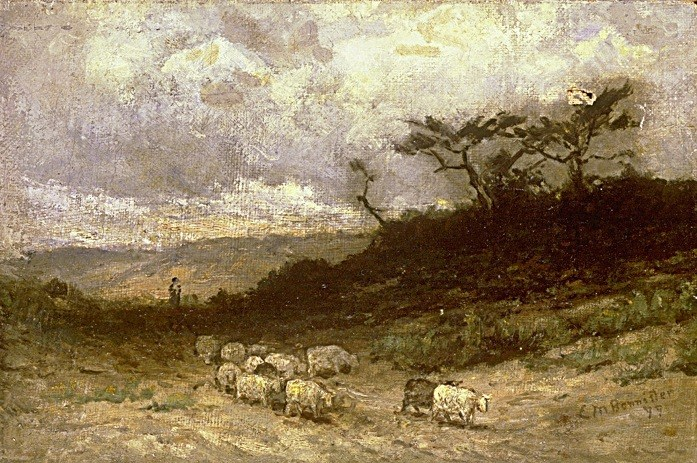 Edward Mitchell Bannister shepherd with sheep