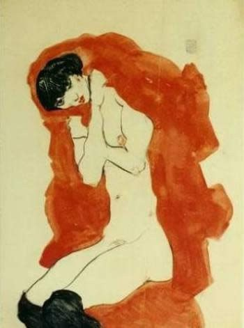 Egon Schiele Girl with Red Blanket