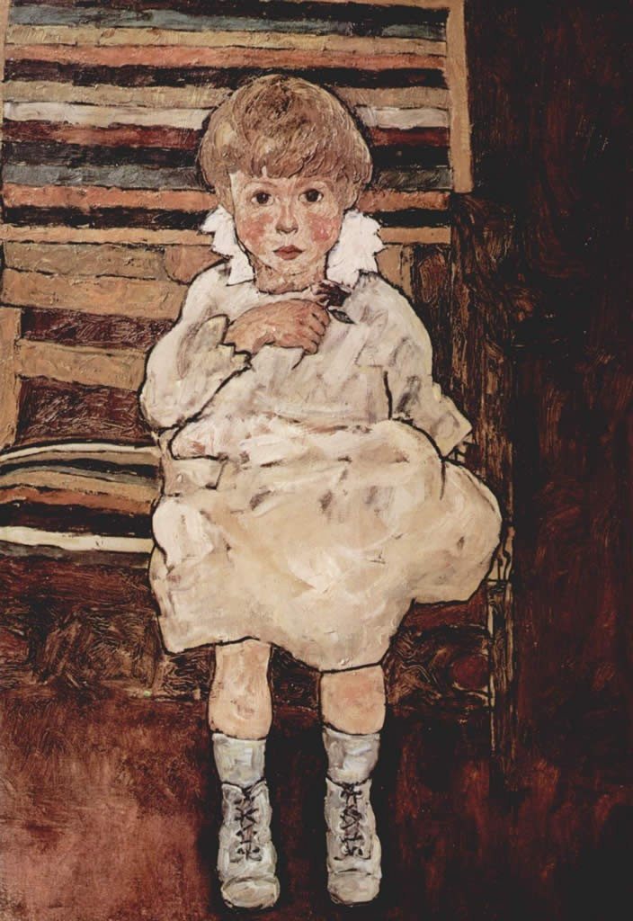 Egon Schiele Sitting child