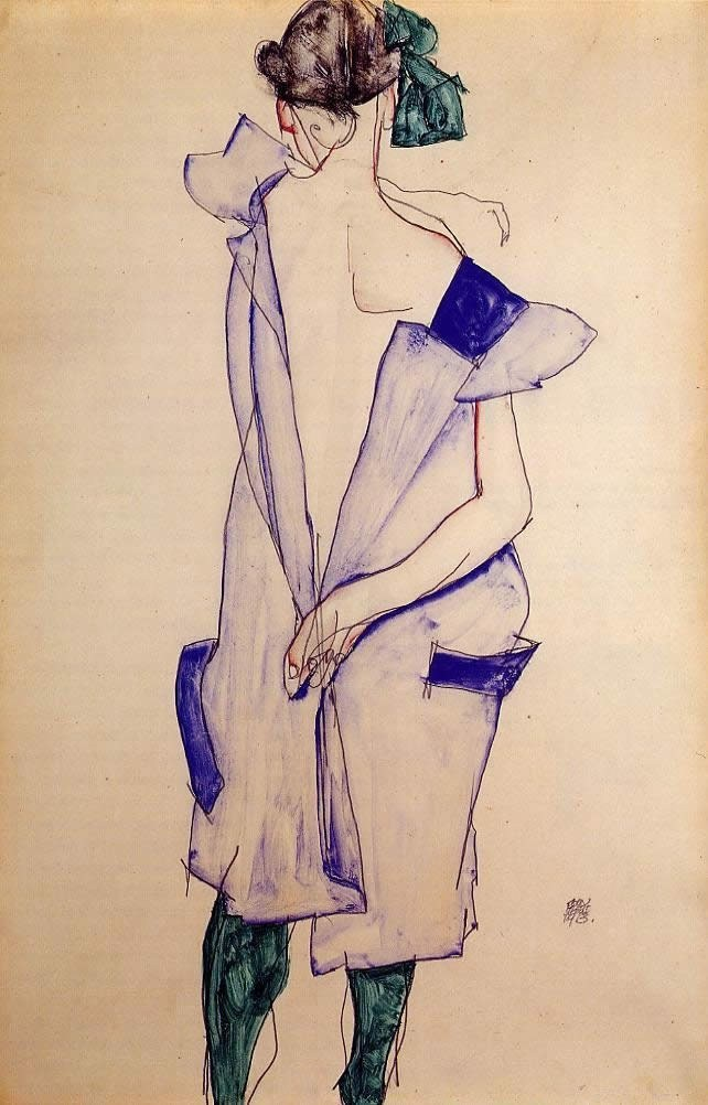 Egon Schiele Standing Girl in a Blue Dress and Green Stockings Back View