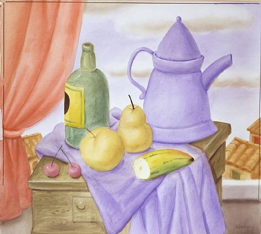 Fernando Botero Still Life With Green Bottle