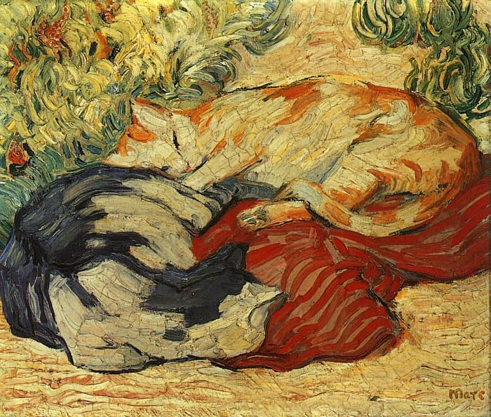 Franz Marc Cats on a Red Cloth