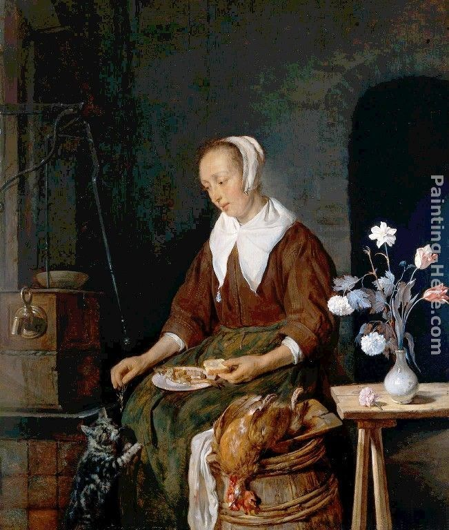 Gabriel Metsu Woman Eating and Feeding her Cat