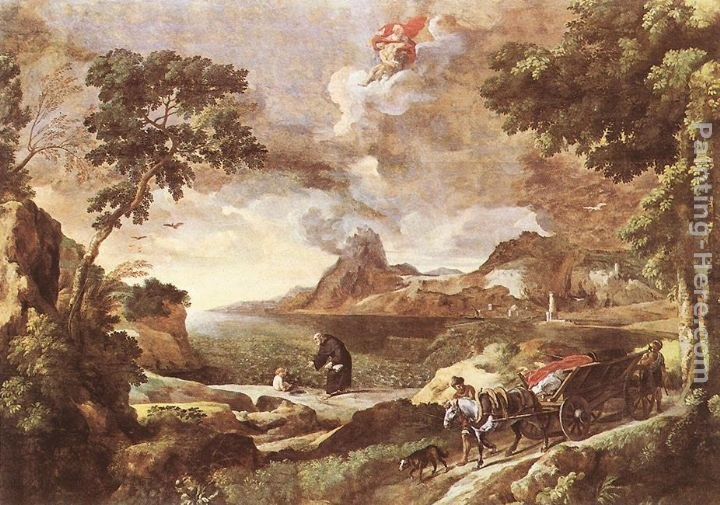 Gaspard Dughet Landscape with St Augustine and the Mystery