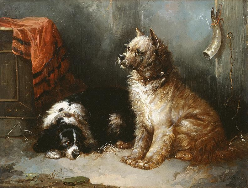 George Armfield A Terrier and a King Charles Spaniel