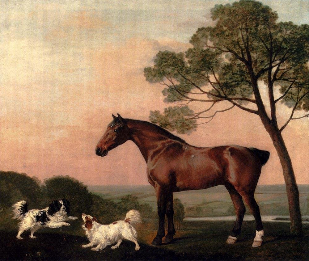 George Stubbs A Bay Hunter With Two Spaniels