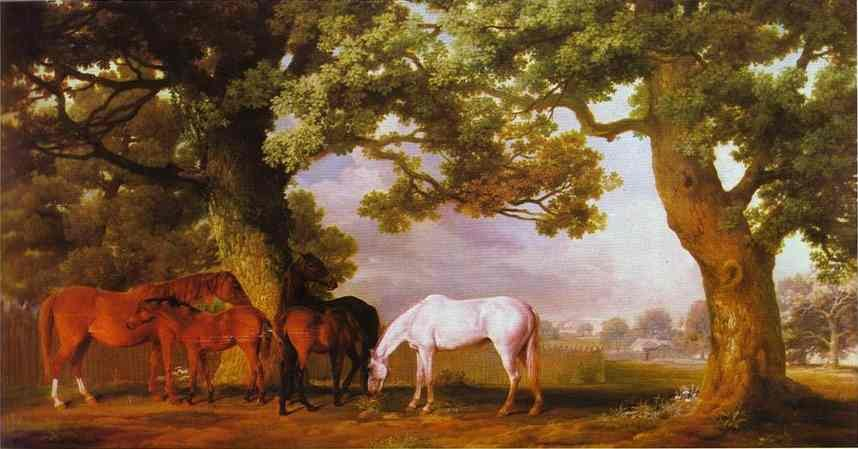 George Stubbs Mares and Foals in a Wooded Landscape