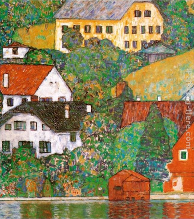 Gustav klimt houses at unterach painting best houses at for Gustav klimt original paintings for sale
