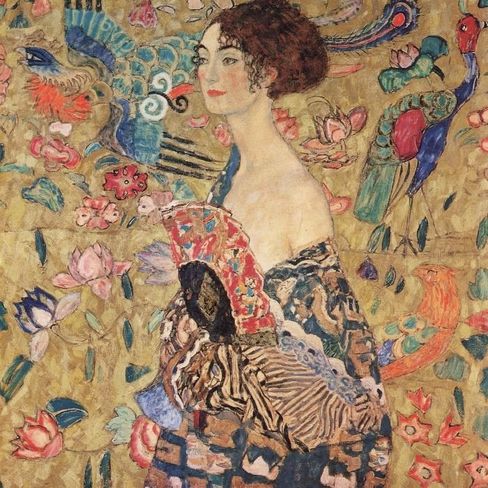 Gustav klimt lady with fan painting best lady with fan for Gustav klimt original paintings for sale