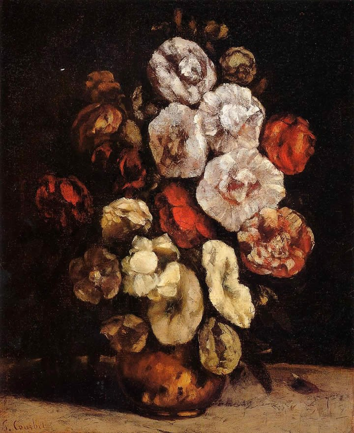 Gustave Courbet Hollyhocks in a Copper Bowl