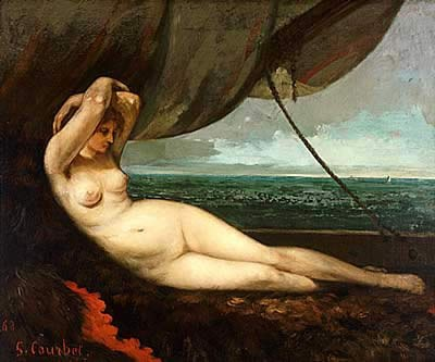 Gustave Courbet Nude reclining by the sea