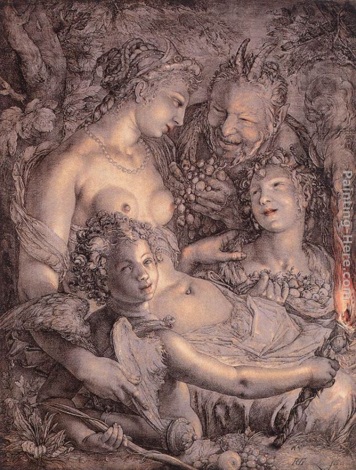 Hendrick Goltzius Without Ceres and Bacchus, Venus would Freeze