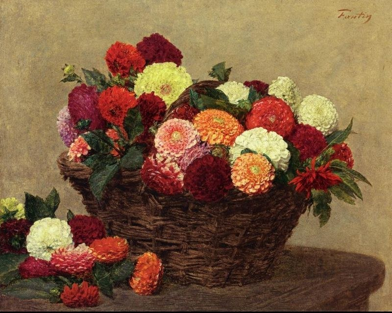 Henri Fantin-Latour Basket of Dahlias