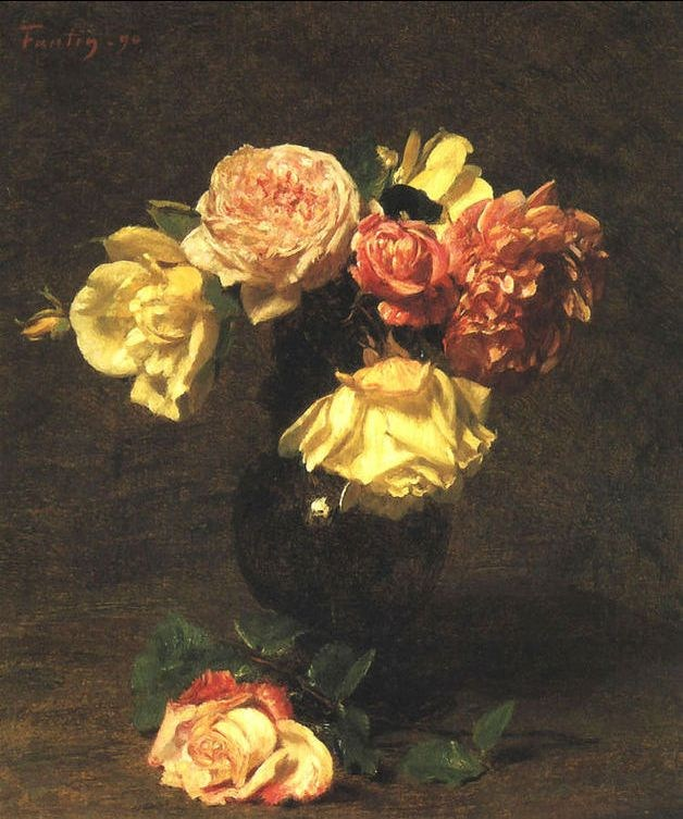 Henri Fantin-Latour White and Pink Roses