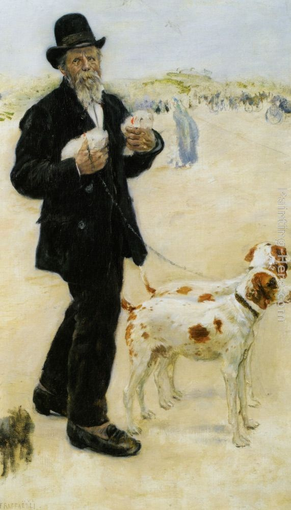 Jean Francois Raffaelli Man Walking Dogs