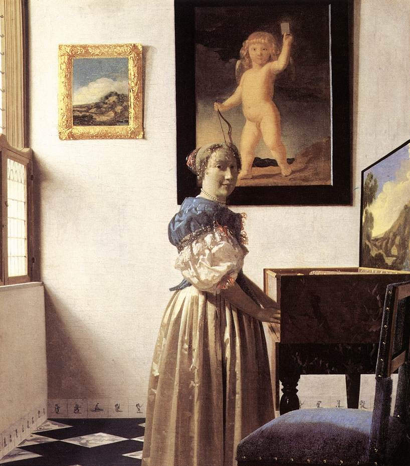 Johannes Vermeer Lady Standing at a Virginal