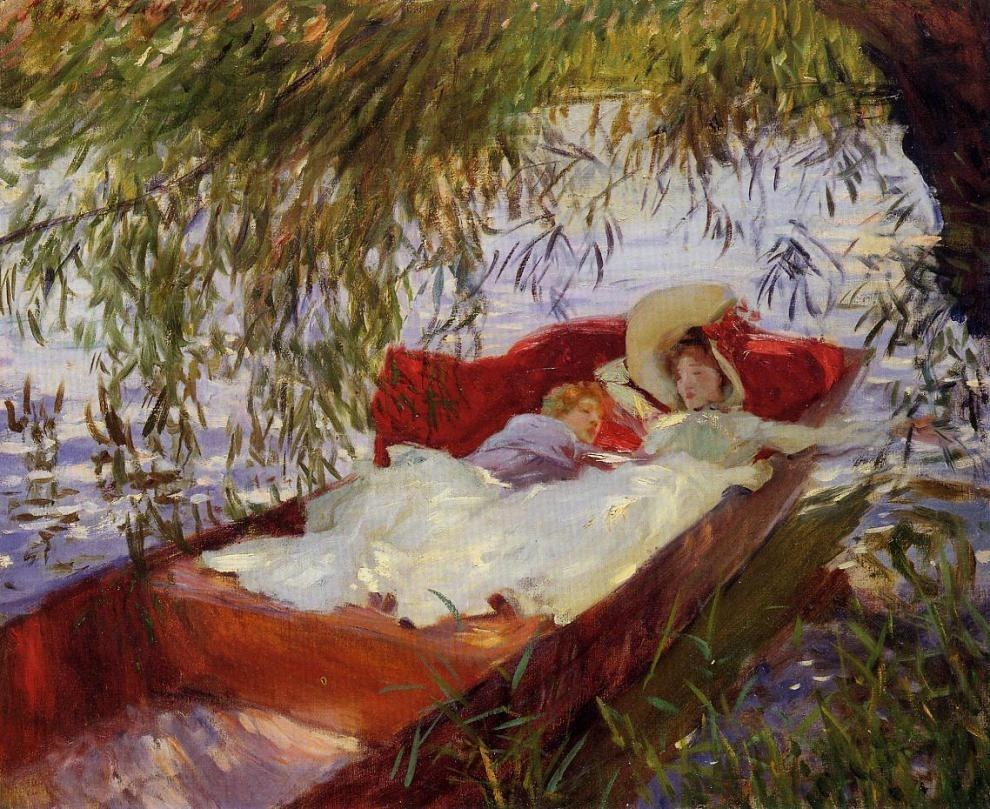 John Singer Sargent Two Women Asleep in a Punt under the Willows