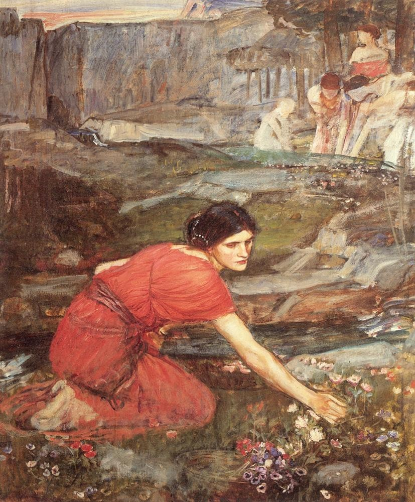 John William Waterhouse Maidens picking Flowers by a Stream Study
