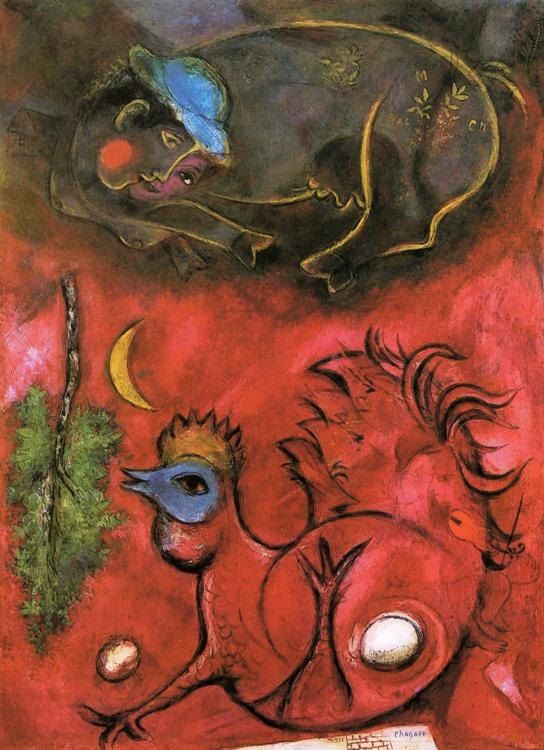 Marc Chagall Listening to the Cock