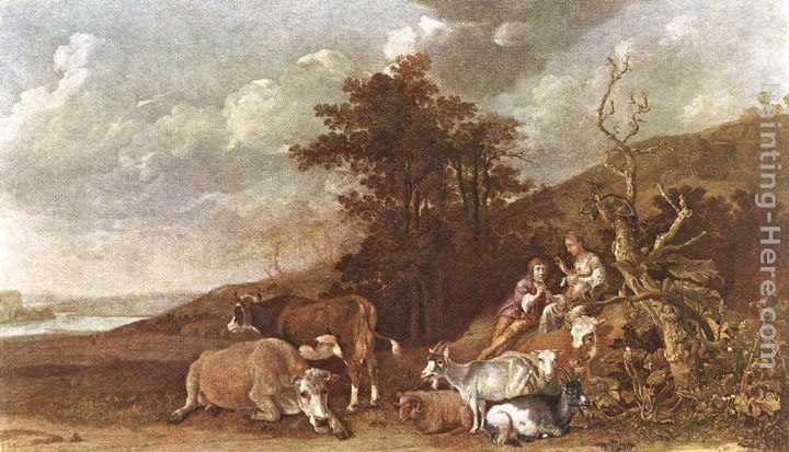 Paulus Potter Landscape with Shepherdess and Shepherd Playing Flute