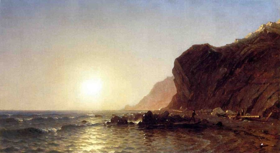Sanford Robinson Gifford Sunset on the Shore of No Man's Land - Bass Fishing