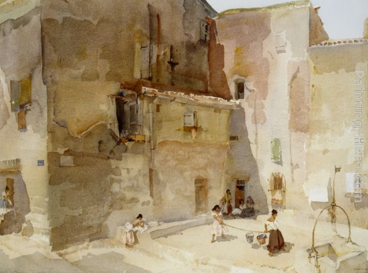 Sir William Russell Flint A Sunlit Square Languedoc