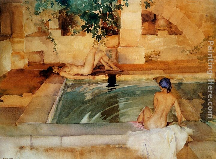 Sir William Russell Flint Gleaming Limbs And Cool Waters
