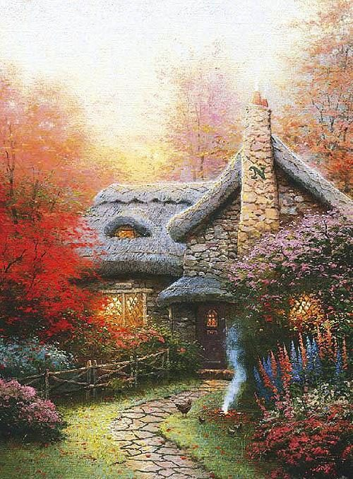 Thomas Kinkade Autumn at Ashley's Cottage