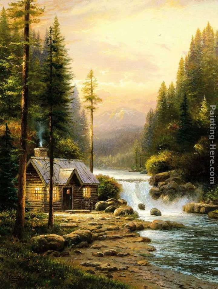 Thomas Kinkade Evening In The Forest
