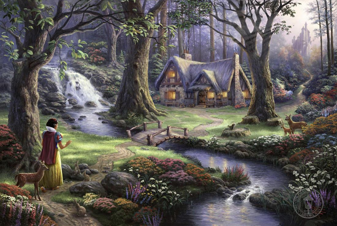 Thomas Kinkade Snow White Discovers The Cottage