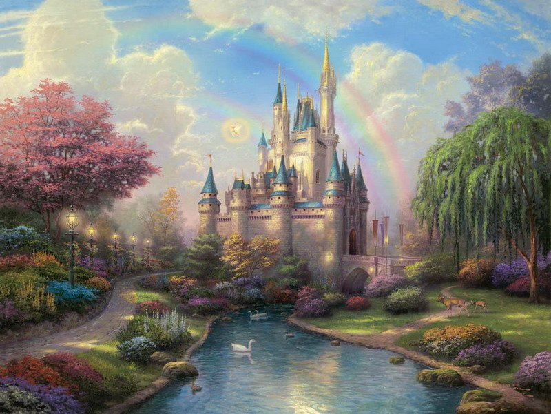 Thomas Kinkade a new day at the Cinderella's castle