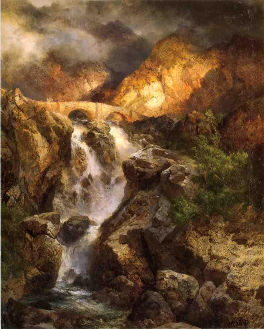 Thomas moran cascading water painting best cascading for Prints of famous paintings for sale