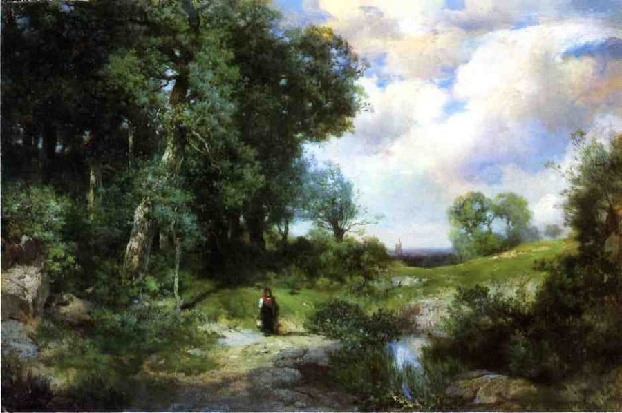 Thomas Moran Young Girl in a Long Island Landscape