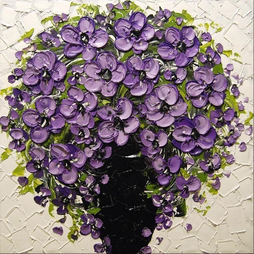 Konda Art Framed Handmade Purple Flower Oil Painting On: Unknown Artist Purple Floral Painting
