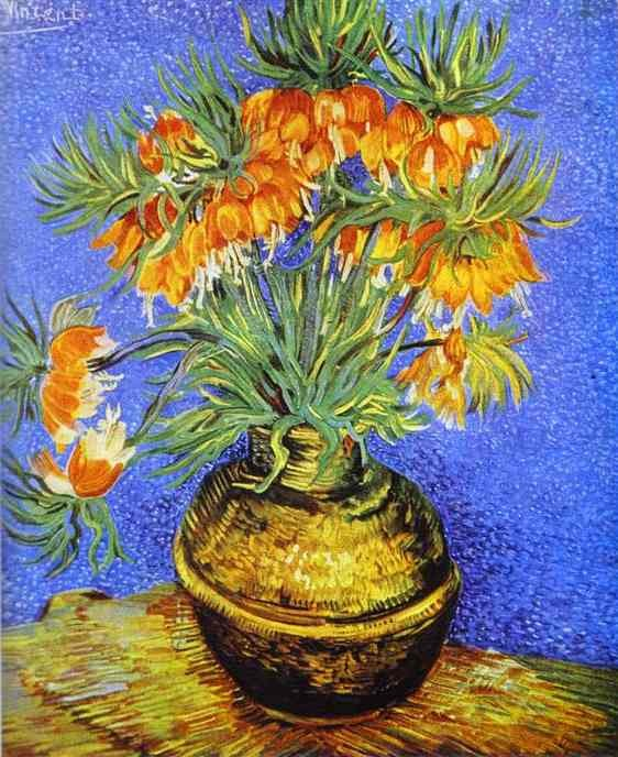 vincent van gogh imperial crown fritillaria in a copper vase - Vase Painting