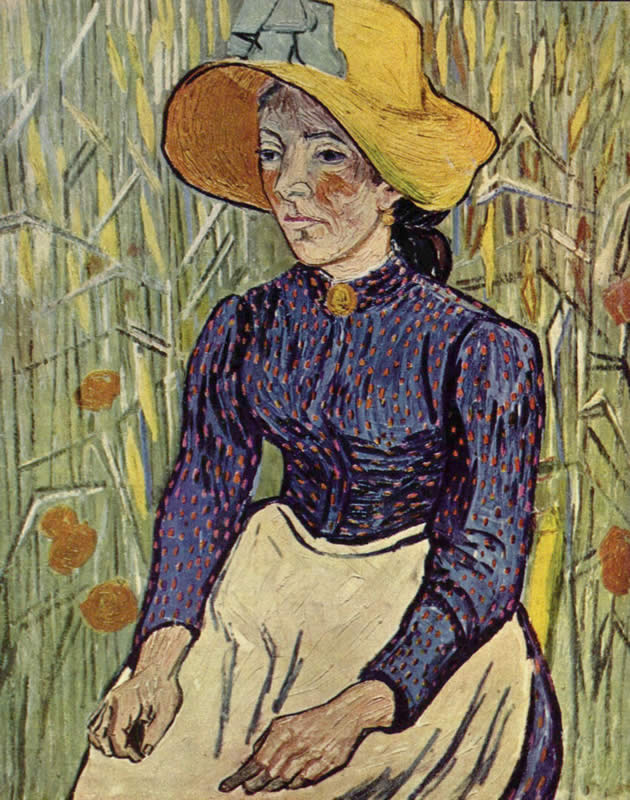 Vincent van Gogh Young Peasant Woman with Straw Hat Sitting in the Wheat