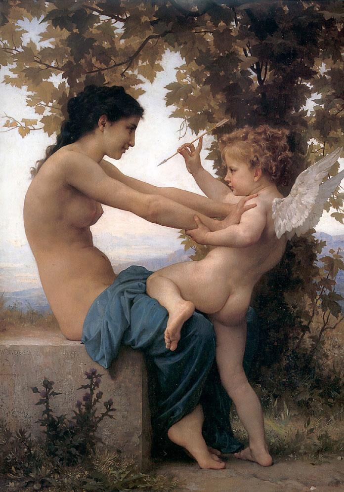 William Bouguereau Young Girl Defending herself against Cupid