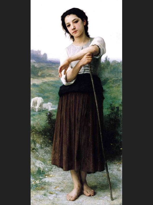 William Bouguereau Young Shepherdess Standing