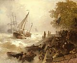 Andreas Achenbach Hafeneinfahrt Bei Rauher See painting