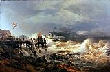 Andreas Achenbach Storm at Dutch Coast painting