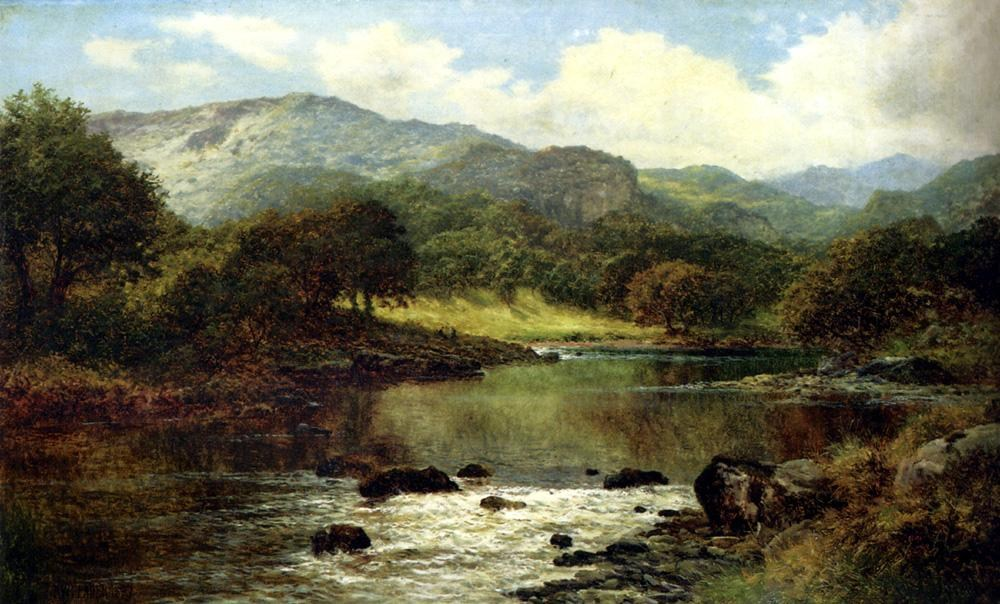 Benjamin Williams Leader A Wooded River Landscape