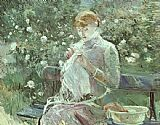 Young Woman Sewing in a Garden