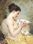 Charles Chaplin A Beauty with Doves painting