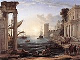 building paintings - Seaport with the Embarkation of the Queen of Sheba by Claude Lorrain