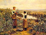 Daniel Ridgway Knight Picking Flowers painting