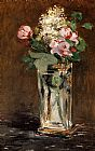 Still Life paintings - Flowers In A Crystal Vase by Edouard Manet