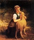 Emile Munier Young Girl with Lamb painting