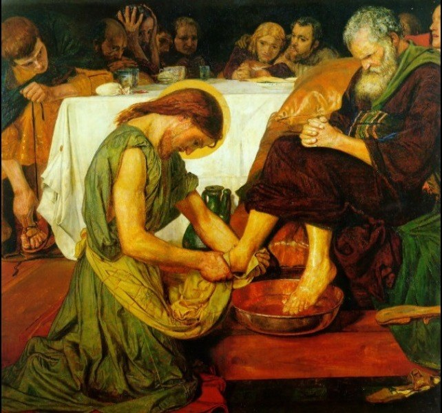 ford madox brown jesus washing peter s feet at the last supper